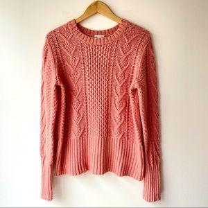 GAP Cozy Light Coral Pink Cable Knit Sweater XL